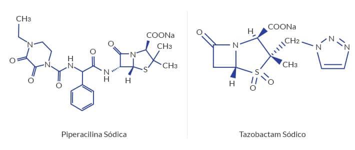 fórmula química de piperacilina e taxobactam